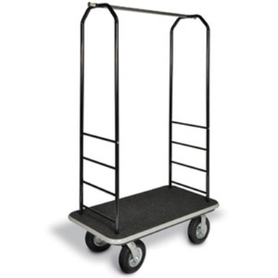 CSL Foodservice & Hospitality 2011GY-010 BLK Bellman Cart w/ Black Carpet, 8-in Black Casters & Gray Bumper, Black