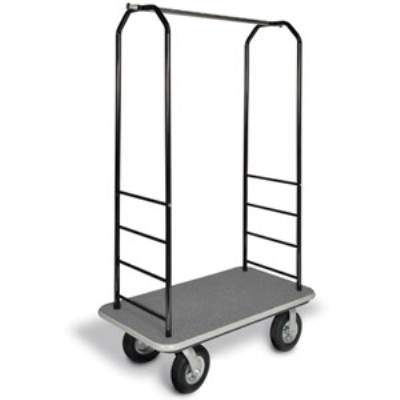 CSL 2011BK-040 GRY Bellman Cart w/ Gray Carpet, 5-in Gray Poly Casters & Black Bumper, Black