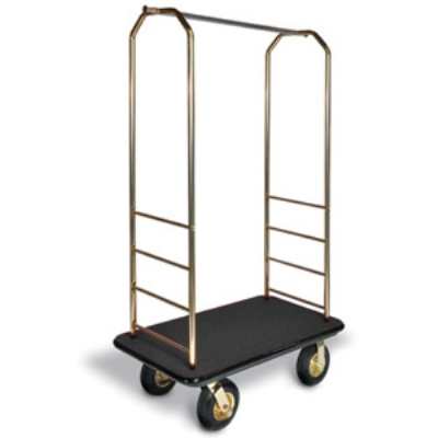 CSL Foodservice & Hospitality 2033GY-010 BLK Bellman Cart w/ Black Carpet, 8-in Black Casters & Gray Bumper, Brasstone