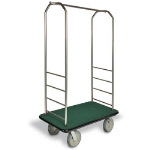 "CSL 2099BK-020 GRN Bellman Cart w/ Green Carpet, 8"" Gray Casters & Black Bumper, Stainless"
