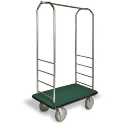 "CSL 2099BK-020 GRN Bellman Cart w/ Green Carpet, 8"" Gray Casters & Black Bumper, Stainless"