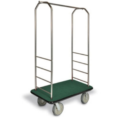 CSL 2099BK-020 Upright Hotel Luggage Cart w/ Green Carpet, Stainless