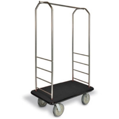 CSL 2099BK-040 BLK Upright Hotel Luggage Cart w/ Black Carpet, Stainless