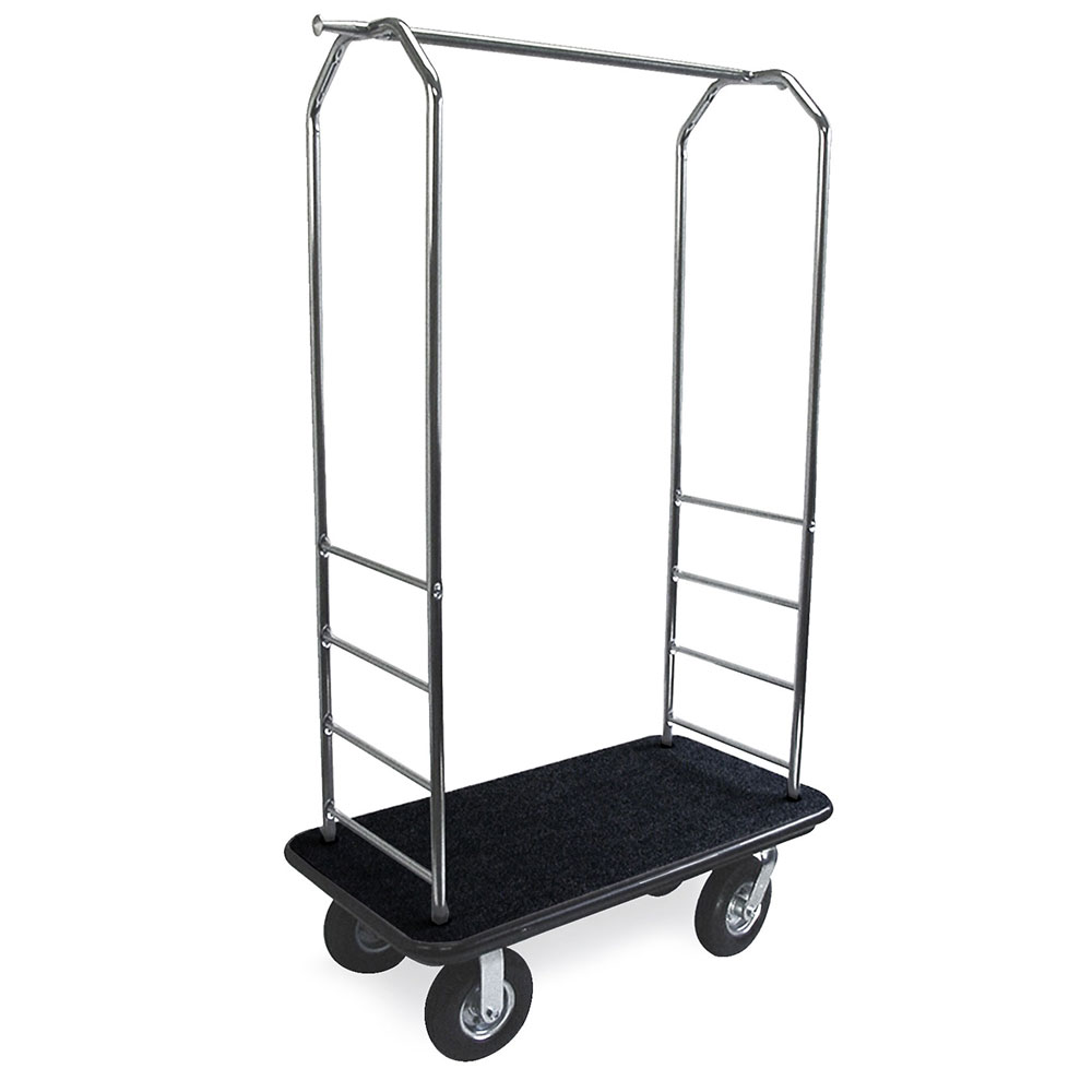 CSL 2099GY-010 BLK Upright Hotel Luggage Cart w/ Black Carpet, Stainless