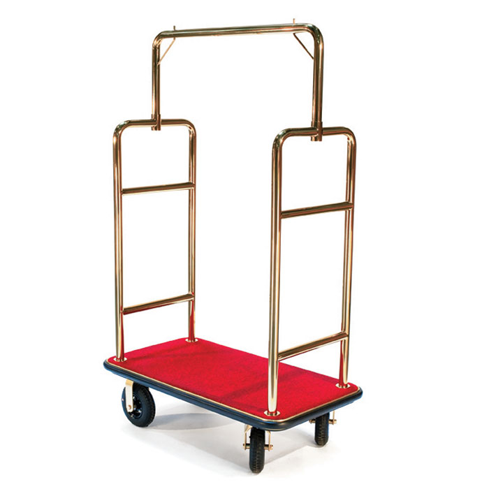 CSL 2533BK-030-RED Upright Bellman Cart w/ Red Carpet, Squared Top, Gold Titanium