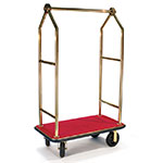 CSL 2633BK-030-RED Upright Hotel Luggage Cart w/ Red Carpet, Gold