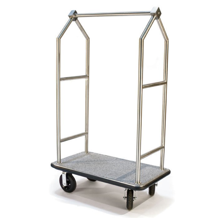 CSL Foodservice & Hospitality 2699BK-010-GRY Upright Bellman Cart w/ Gray Carpet, Angled Top, Stainless