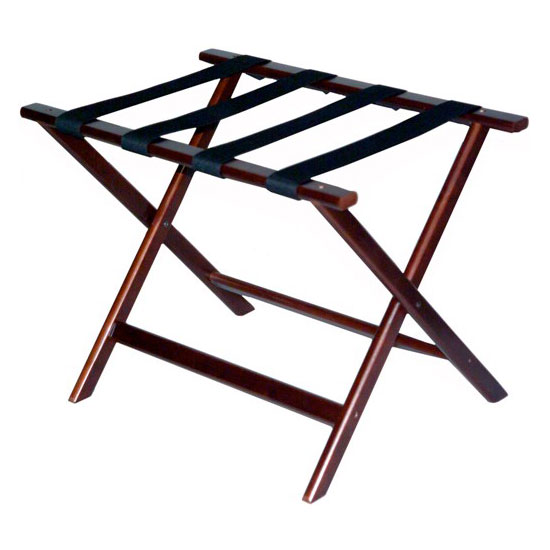 CSL 277CM-1 Economy Luggage Rack w/ Black Straps, Wooden, Cherry Mahogany