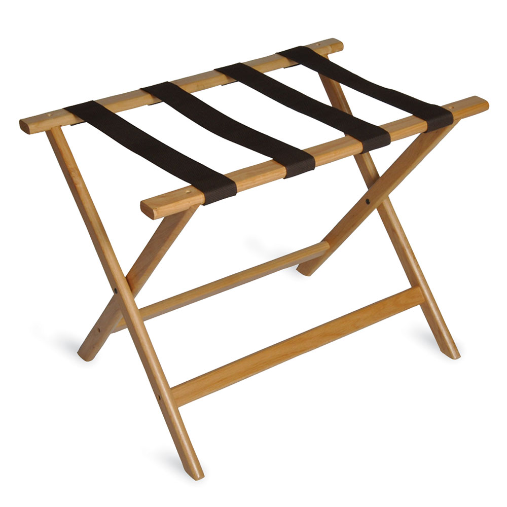 CSL 277LT-1 Economy Luggage Rack w/ Brown Straps, Wooden, Light