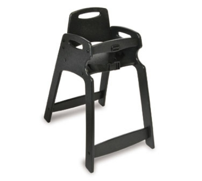 CSL 333-BLK Lightweight Recycled Plastic High Chair, Assembled, Black