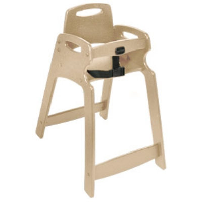 CSL Foodservice & Hospitality 333-SND-KD Lightweight Recycled Plastic High Chair, Assembly Required, Sand