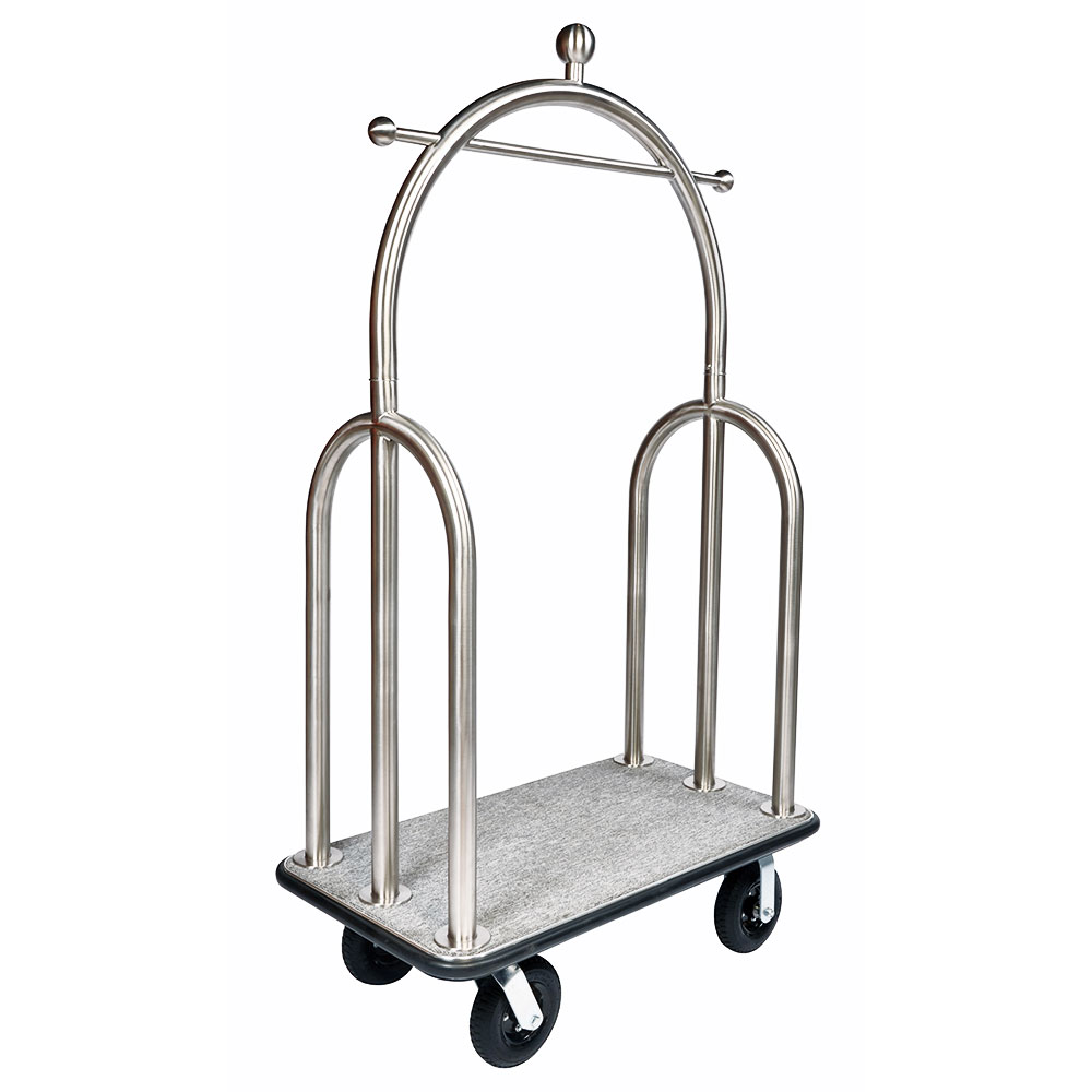 CSL 3599-BK-010-GRY Trident Style Deluxe Bellman Cart w/ Gray Carpet, Stainless