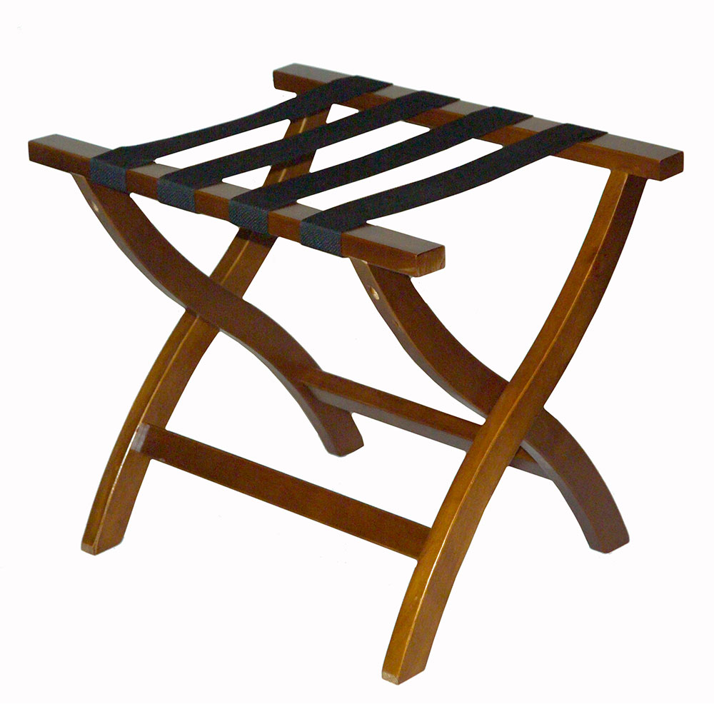 CSL 77WAL-1 Premiere Luggage Rack w/ Black Straps, Wooden, Walnut