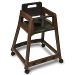 Csl Foodservice & Hospitality 850C-BRN-KD Plastic Stackable High Chair w/ Casters, Assembly Required, Brown