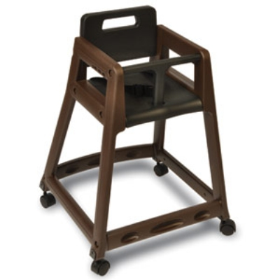 CSL 850C-BRN-KD Plastic Stackable High Chair w/ Casters, Assembly Required, Brown