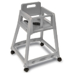 CSL Foodservice & Hospitality 850C-DGY-KD Plastic Stackable High Chair w/ Casters, Assembly Required, Gray