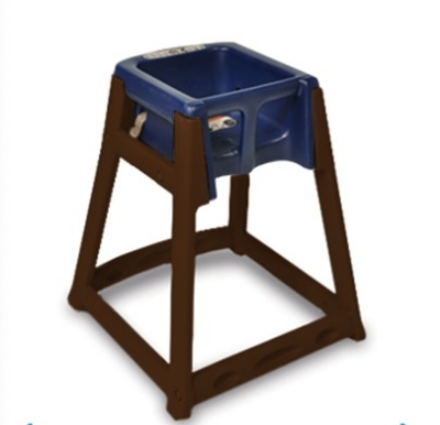 CSL Foodservice & Hospitality 866-BLU High Chair Infant Seat w/ Blue Seat, Dark Brown Frame