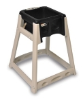 CSL Foodservice & Hospitality 888C-BLK High Chair Infant Seat w/ Black Seat, Casters, Beige Frame