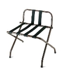 CSL 1055B-WA-BL-1 Luggage Rack w/ Silver Straps & Luxury High Back, Walnut