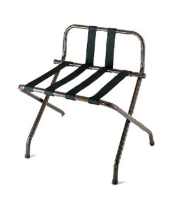 CSL Foodservice & Hospitality 1055B-WA-BN-1 Luggage Rack w/ Brown Straps & Luxury High Back, Walnut