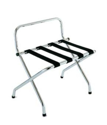 Csl Foodservice & Hospitality 1055C-BL-1 Luggage Rack w/ Black Straps & High Back Wall Guard, Chrome