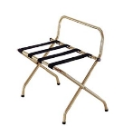 CSL 1055I-BL-1 Luggage Rack w/ Black Straps & High Back Wall Guard, Antique Inca Gold