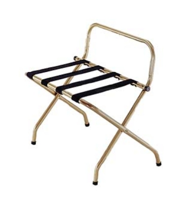 Csl Foodservice & Hospitality 1055I-BL-1 Luggage Rack w/ Black Straps & High Back Wall Guard, Antique Inca Gold