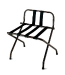CSL 1055B-BL-BL-1 Luggage Rack w/ Black Straps & Luxury High Back, Black