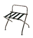 CSL 1055-WA-BN-1 Luggage Rack w/ Brown Straps & High Back Wall Guard, Walnut