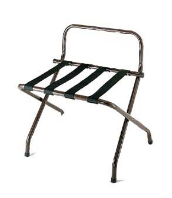 CSL Foodservice & Hospitality 1055-WA-BL-1 Luggage Rack w/ Black Straps & High Back Wall Guard, Walnut