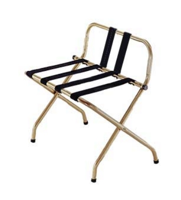 CSL Foodservice & Hospitality 1055B-I-BL-1 Luggage Rack w/ Black Straps & Luxury High Back, Antique Inca Gold