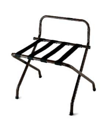 CSL Foodservice & Hospitality 1055BL-BL-1 Luggage Rack w/ Black Straps & High Back Wall Guard, Black