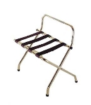 CSL Foodservice & Hospitality 1055BR-BN-1 Luggage Rack w/ Brown Straps & High Back Wall Guard, Brass