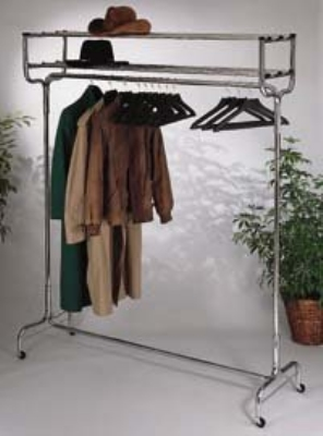 CSL 1074-60P 60-in Portable Valet w/ Double Hat Rack, 18-Perma-Hangers, Chrome