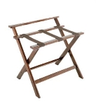 CSL Foodservice & Hospitality 1077DK Wooden Luggage Rack w/ Brown Straps & High Back, Walnut