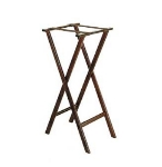 CSL 1178-1 38-in Extra Tall Flat Tray Stand w/ Brown Straps, Mahogany