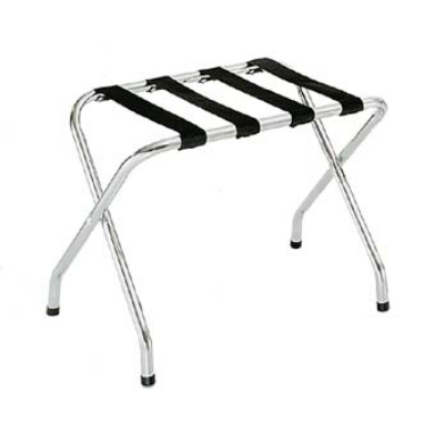 CSL 155C-BL-1 Luggage Rack w/ Black Straps, Flat Top, Chrome