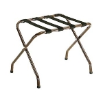 CSL 155WA-BL-1 Luggage Rack w/ Black Straps, Flat Top, Walnut