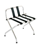 CSL S1055B-C-BL-1 24-in Luggage Rack w/ Black Straps, High Back, Brushed Chrome
