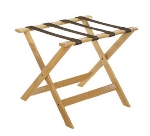 CSL Foodservice & Hospitality 177LT-1 Luggage Rack w/ Brown Straps, Deluxe Wooden, Light Finish
