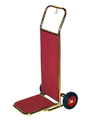 CSL Foodservice & Hospitality 2200GD-RED Bellman Hand Truck w/ Red Carpet, Gold Titanium