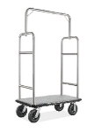 CSL 2599BK-010-GRY Upright Bellman Cart w/ Gray Carpet, Stainless