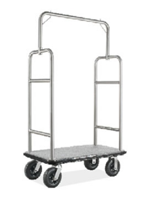 CSL Foodservice & Hospitality 2599BK-010-GRY Upright Bellman Cart w/ Gray Carpet, Stainless