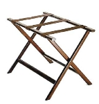 CSL Foodservice & Hospitality 277DK-1 Economy Luggage Rack w/ Brown Straps, Wooden, Walnut