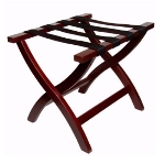 CSL 77MAH-1 Premiere Luggage Rack w/ Black Straps, Wooden, Mahogany