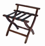 CSL 79MAH-L-1 High Back Luggage Rack w/ Black Leather Straps, Mahogany