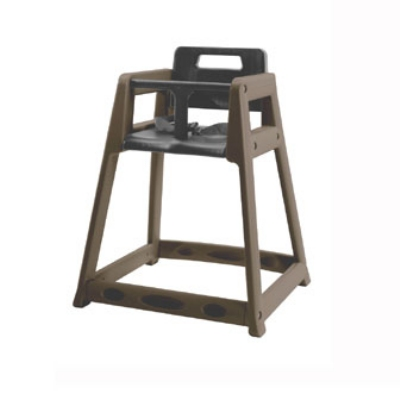 CSL Foodservice & Hospitality 850-BRN-KD Plastic Stackable High Chair, Assembly Required, Brown
