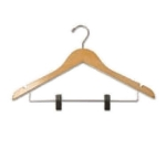CSL THA-11 NWC C Ladies Contour Hanger, Regular Hook w/ Skirt Clip, Natural Finish