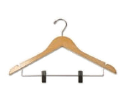 CSL Foodservice & Hospitality THA-11 NWC C Ladies Contour Hanger, Regular Hook w/ Skirt Clip, Natural Finish