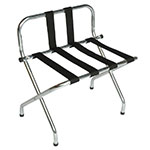 "CSL S1055B-C-BL-1 24"" Luggage Rack w/ Black Straps, High Back, Brushed Chrome"